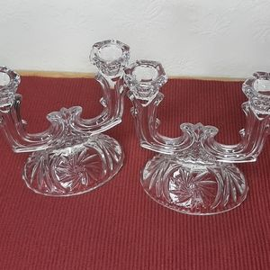 2 Vintage double crystal candle holders